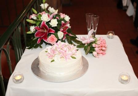Bouquet and Wedding Cake