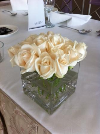 Roses In A Square Vase Wedding Flowers By Jody