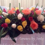 brightly coloured table flowers