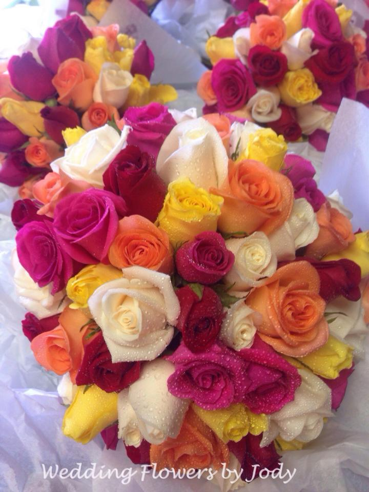 brightly coloured bouquets