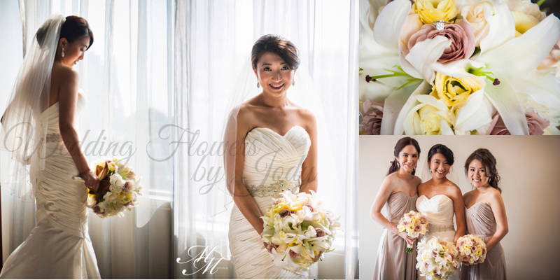 Collage of Bride, her bridesmaids and bouquet