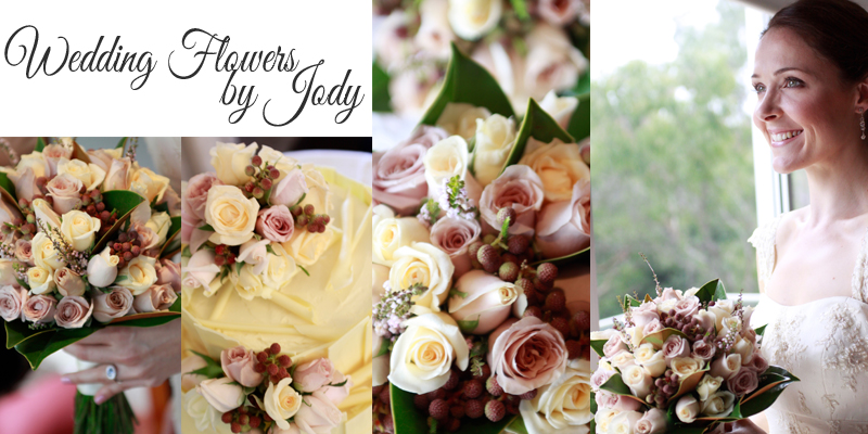 Collage of flowers from Lyndal's wedding