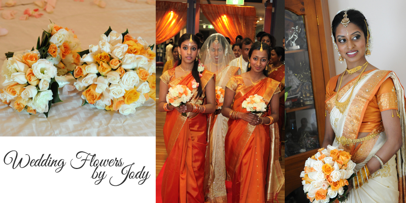 Collage of photos from an indian wedding showing bouquet, bride and bridesmaids