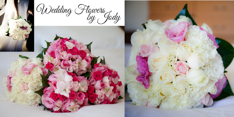 Collage of bridal bouquets in pink and white